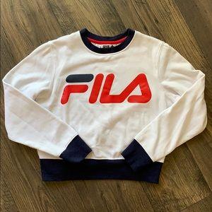 FILA White Blue Red Cropped Sweatshirt Sz S